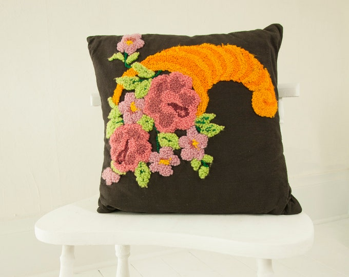 Vintage cornucopia pillow, black orange pink floral needlepoint small square throw accent decorative down, boho retro decor 1960s 1970s