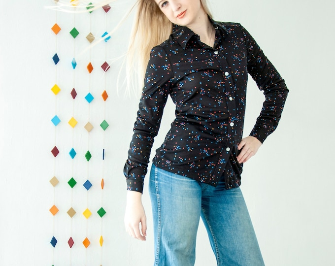 Vintage 1970s black confetti blouse,  long sleeve  blue red orange, collared retro shirt top, S NOS deadstock tags