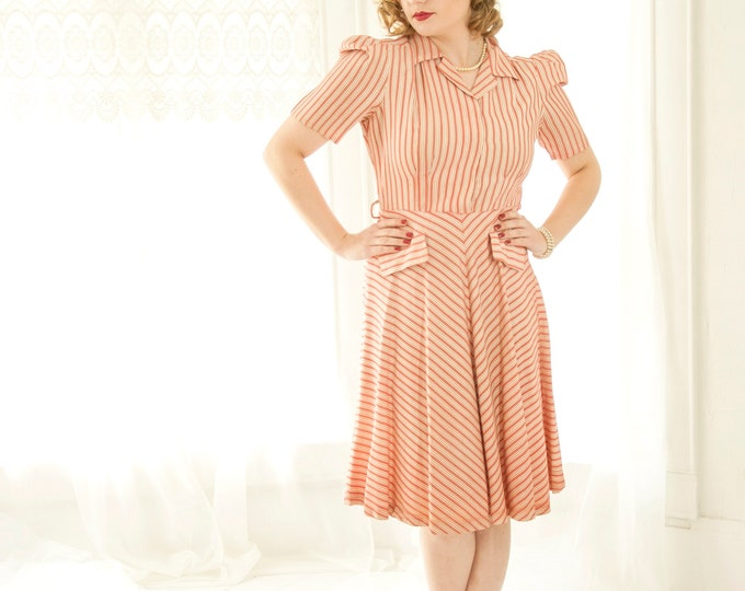 Vintage 1940s red striped dress, white stripes chevron pink short puffed sleeve collar rayon knee length, pin-up, L