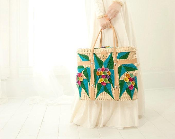 Vintage turquoise floral basket purse, large blue flowers straw market beach bag handbag, tan brown jute woven boho retro 1970s