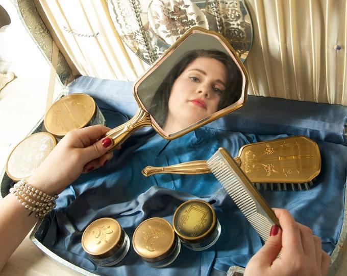 Vintage 1940s dresser set, gold floral hand mirror, brush comb, powder jars, blue case, vanity dressing bathroom pin-up gift for her