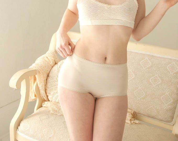 Vintage nude high-waist panties, white stretch panties, nylon stretch shape-wear pin-up lingerie XS S, 1970s NOS