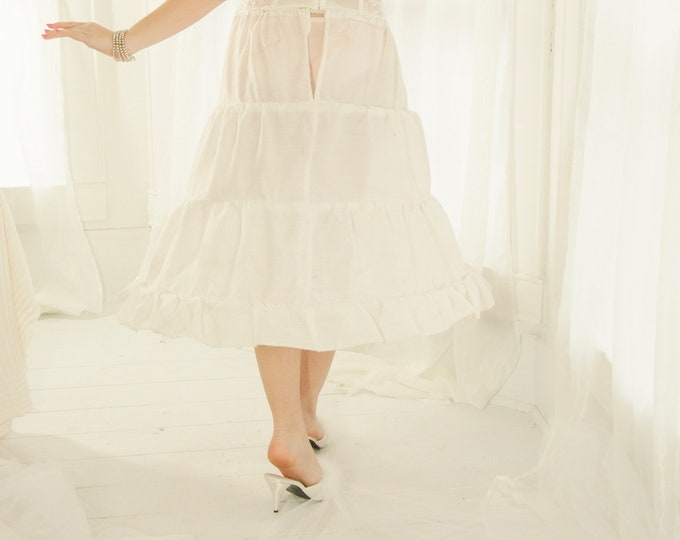 Vintage midi hoop skirt, white crinoline, full long tulle knee-length slip petticoat, bridal wedding dress gown lingerie S M