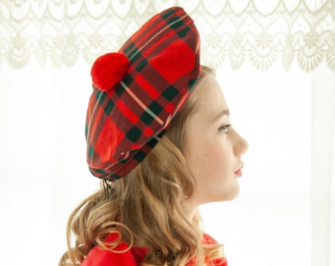 Vintage red plaid hat, Scottish Celtic, wool tartan beret headpiece, pompom black white, Gaelic College 1960s 1970s