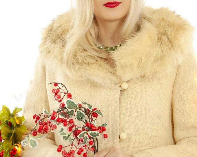 Vintage white wool coat, genuine fur collar, ivory winter princess, mod retro boho jacket 1960s 1970s S M
