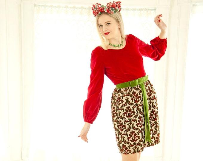 Vintage red tapestry mini dress, baroque green velveteen long sleeve damask Baroque, 1960s XS S