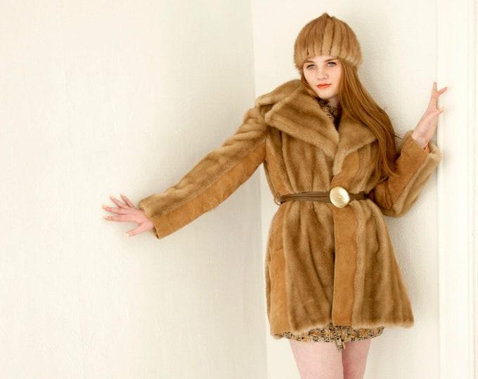 Vintage Lilli Ann faux fur coat, genuine suede, leather jacket, brass tan brown boho retro 1960s 1970s, London Leathers M