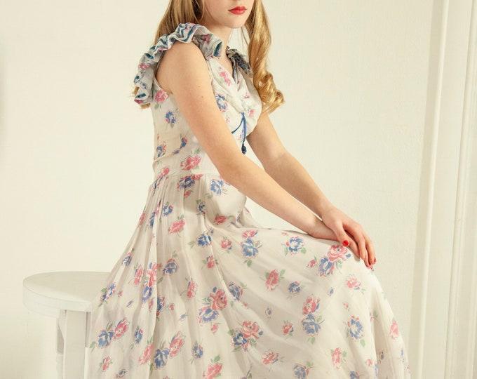 Vintage 1940s floral dress, sheer white formal pink blue long summer sleeveless flutter XXS girls 12 14 petite