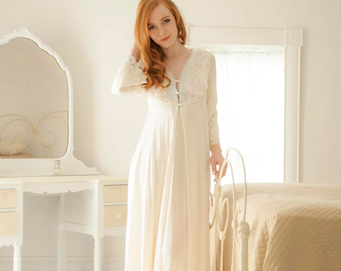 Vintage white nightie set, ivory long bell sleeves, full-length two piece peignoir nightgown robe, lingerie sexy gift for her, S