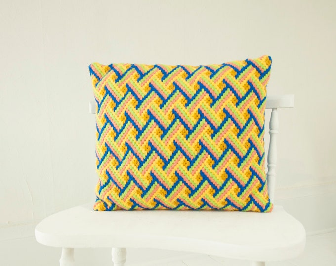Vintage yellow lattice pillow, small embroidered square throw accent decorative, yellow blue wool chevron retro decor 1970s