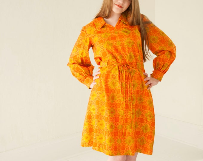 Vintage orange silk mini dress, long bishop sleeves, collar, avocado green M 1970s mod retro boho