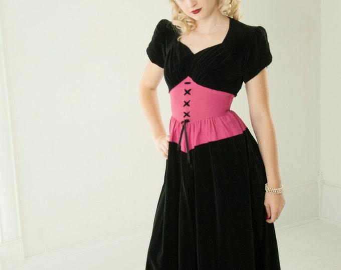 Vintage 1940s black velveteen dress, fuchsia pink corset waistband, long maxi gown, short puffed sleeves, sweetheart, XS S