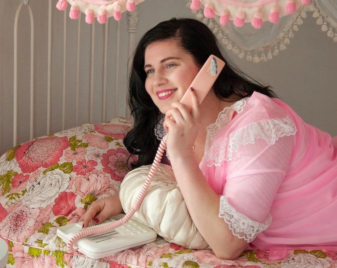 Vintage pink telephone, 1980s Sharp landline phone, white speakerphone, electric 20 number memory