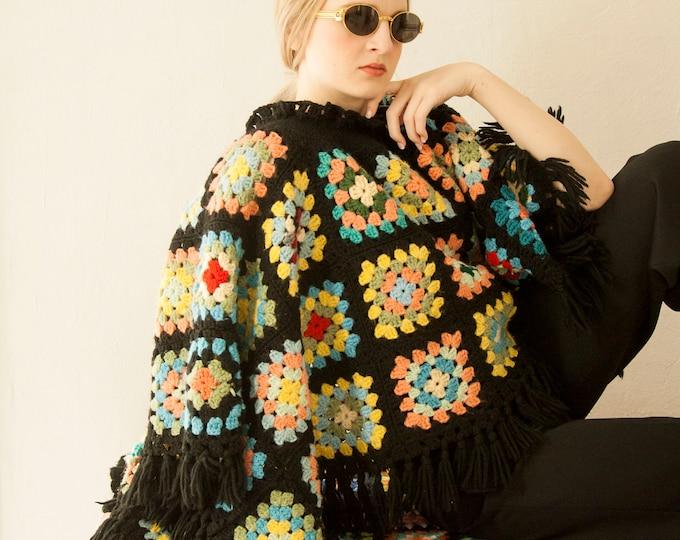 Vintage granny square poncho shawl, crochet boho black red colorful rainbow patchwork cape, fringe triangle afghan sweater boho retro 1970s