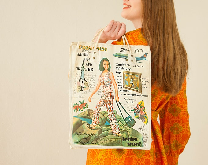 Vintage vinyl retro tote bag, woman figure advertising Maybelline Zenith TV Chromacolor Olga, market grocery, 1970s