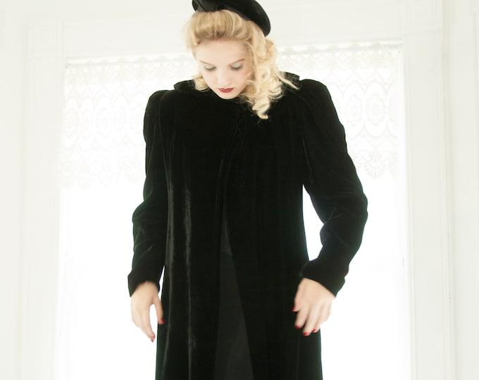 Vintage 1930s black velvet coat, collar, long duster opera formal swing jacket Victorian cloak, puffed sleeves S