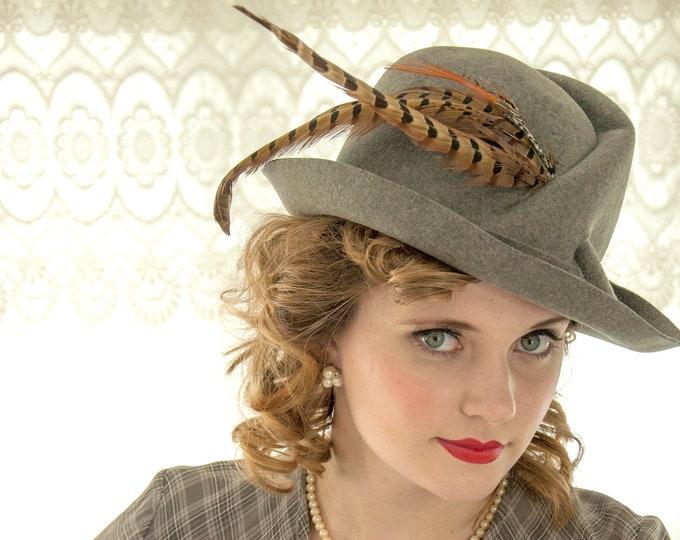 Vintage 1950s gray fedora hat, wool trilby vagabond, brown pheasant feathers, ladies Mr. John designer