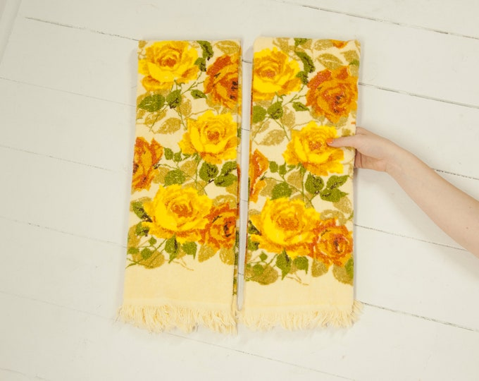 Vintage yellow floral hand towel set, two bathroom cotton towels, gold orange boho retro bathroom home decor wedding gift