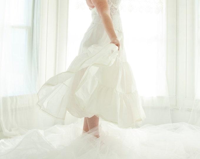 Vintage white crinoline, full long tulle skirt slip petticoat, prom formal bridal wedding dress gown, XL plus size lingerie 1970s