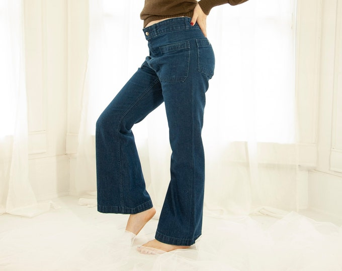 Vintage dark denim bell bottoms, blue jeans pants high waist cotton flare navy bellbottoms nautical sailor boho men's Seafarer XS S 1970s