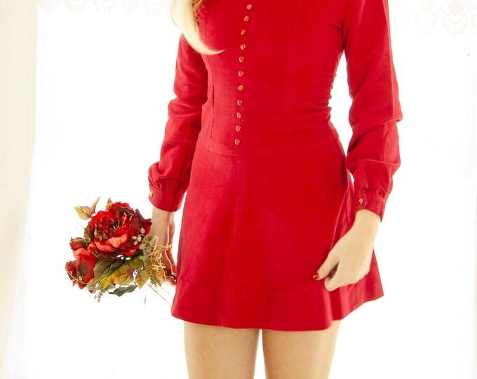 Vintage red velveteen mini dress, short mod retro boho, long sleeve scooter skater, XS petite Christmas