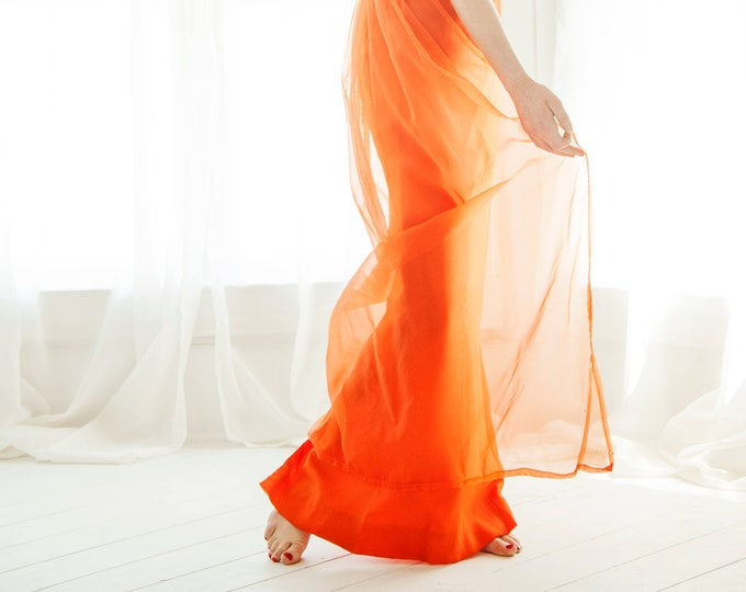 Vintage orange maxi dress, formal 1960s empire waist boho Renaissance princess goddess, chiffon train, sleeveless XS S petite