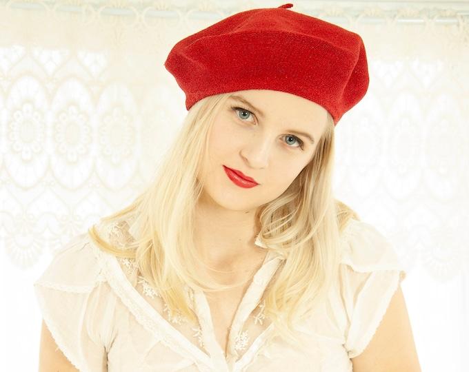 Vintage red knit beret hat, boho school girl French artist retro 1970s