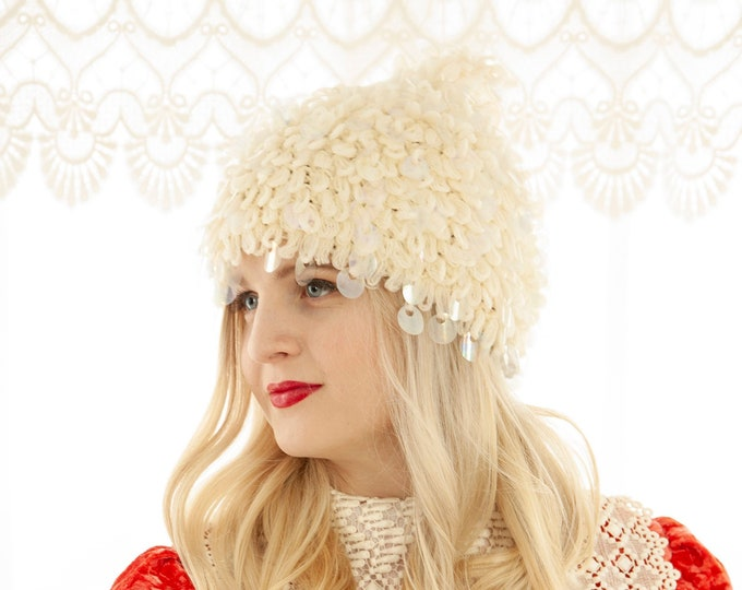 Vintage 1960s white stocking hat, embellished iridescent paillettes sequins mod wool knit cap, chunky loop crochet, winter Christmas elf