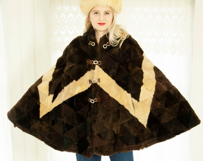 Vintage shearling fur cape, genuine sheepskin dark brown triangle patchwork white chevron, warm winter 1960s boho Spain, OSFM