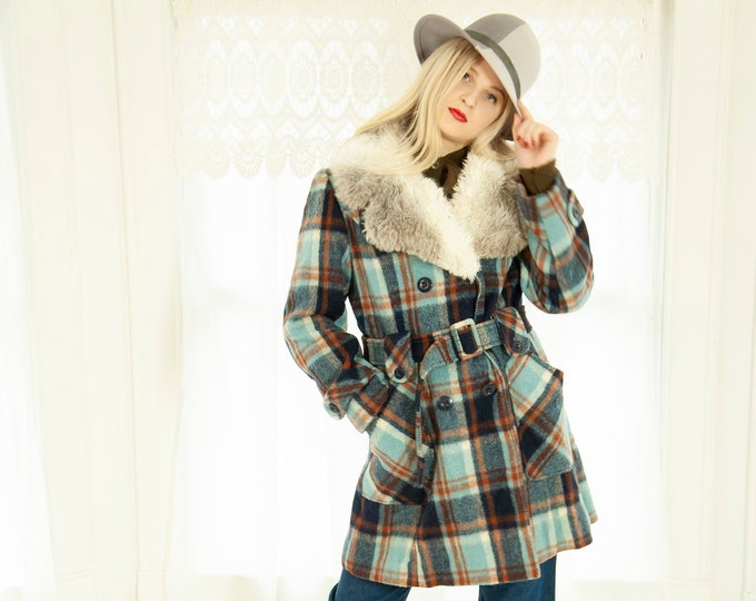 Vintage blue plaid pea coat, orange navy wool, white gray faux fur collar, double-breasted 1970s retro boho S M