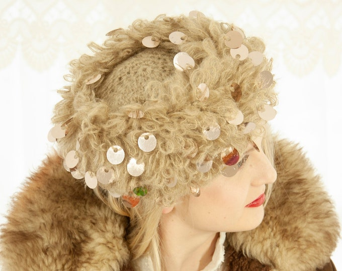 Vintage 1960s gray knit hat, round mirror  sequins paillettes, mod stocking cap, embellished loop crochet, acrylic winter Christmas