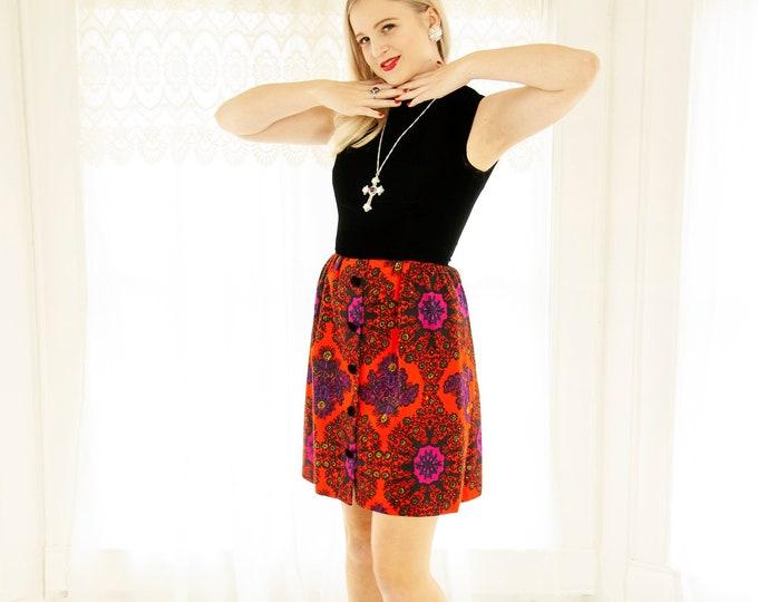 Vintage orange damask mini dress, 1960s black velvet red purple short A-line shift mod sleeveless party formal XS S