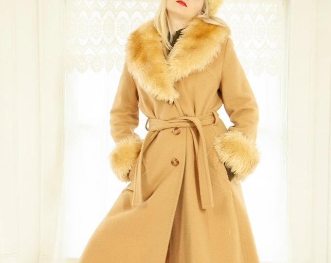 Vintage camel wool coat, plush faux shearling fur collar cuffs, tan cream long princess 1970s boho retro midi length, S M