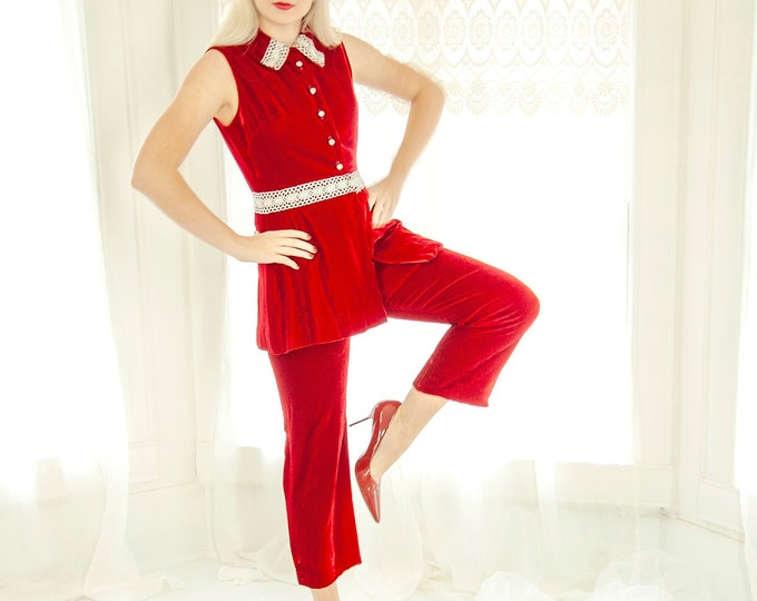 Vintage red velvet pantsuit set, sleeveless top high-waist pants, silver lace collar 1960s mod XS S petite, Christmas Valentine's Day outfit