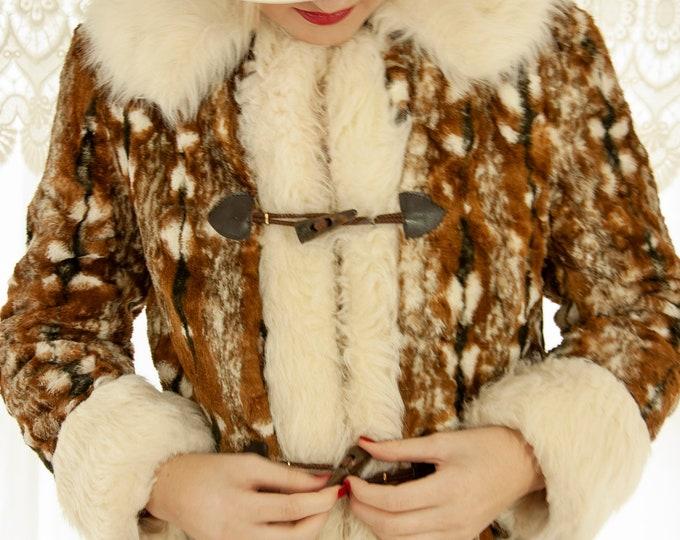 Vintage faux-fur princess coat, white collar cuffs, brown mottled winter long jacket, animal print, 1960s mod 1970s boho retro S
