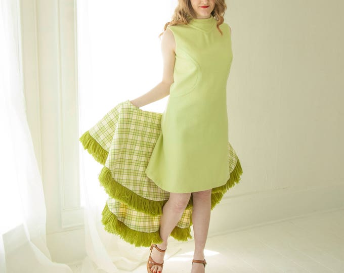 Vintage green mini dress, plaid poncho vest cape set, wool fringe hood, lime avocado mini 1960s 1970s M
