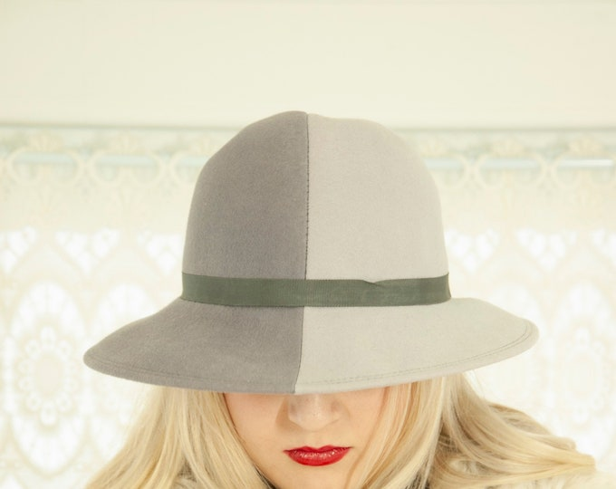Vintage gray Two-Face hat, wool, dark light split middle part, two tone, Carmen Sandiego, 1970s retro sun, shades of grey