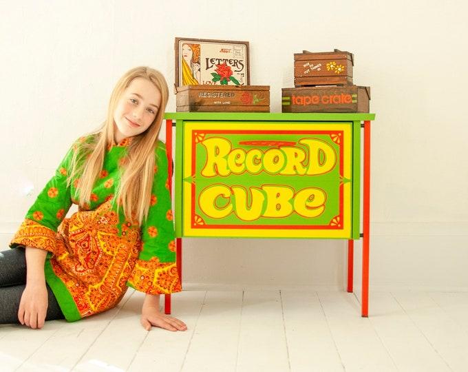 Vintage record cube, avocado green orange yellow storage stand metal organizer side table decor, retro vinyl album music lover gift  1970s