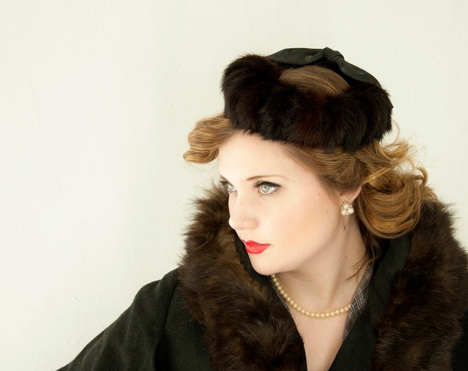 Vintage 1950s brown mink hat, black satin pillbox fascinator, ladies winter halo pin-up formal