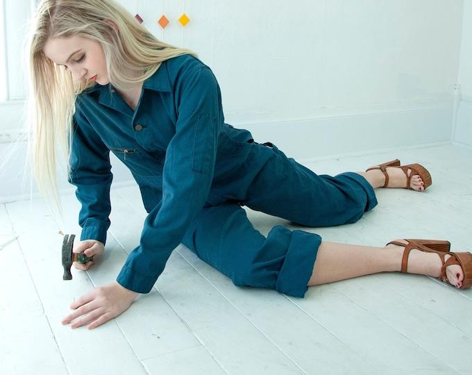 Vintage blue coveralls, one-piece long sleeve work garage outfit jumpsuit pantsuit, wide-leg utility pants, unisex mens XS S 1970s retro