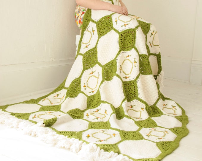 Vintage white avocado green afghan, granny square octagons check fringe orange floral geometric throw blanket, 1970s retro