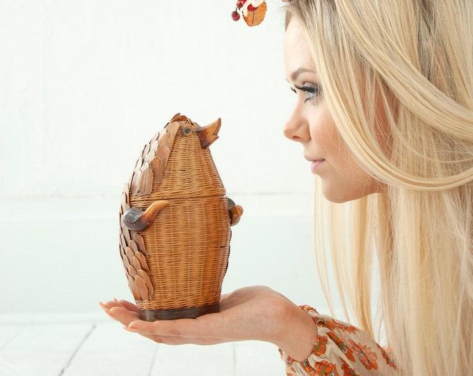 Vintage wicker hedgehog, woven basket statue pine cone wood animal 1970s boho retro decor gift