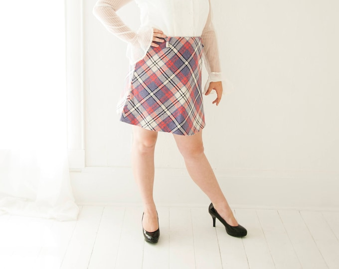 Vintage purple plaid mini skirt, high waist wool, pink white L XL plus size 1970s