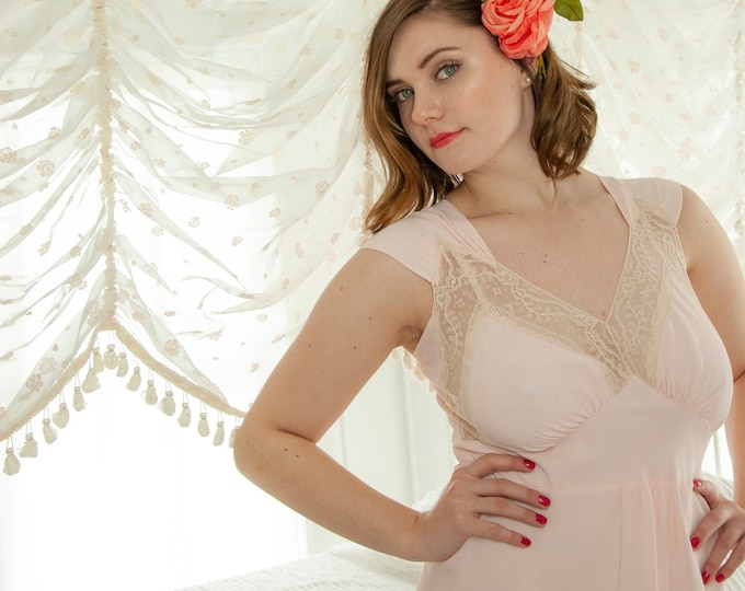 Vintage 1940s pink nightie dress, sheer white lace slip bias-cut pin-up lingerie rayon nightgown, long full L