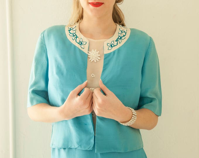 Vintage 1950s blue silk suit dress set, two-piece high-waist pencil skirt, turquoise short sleeve top, white collar floral beading, XS 1960s