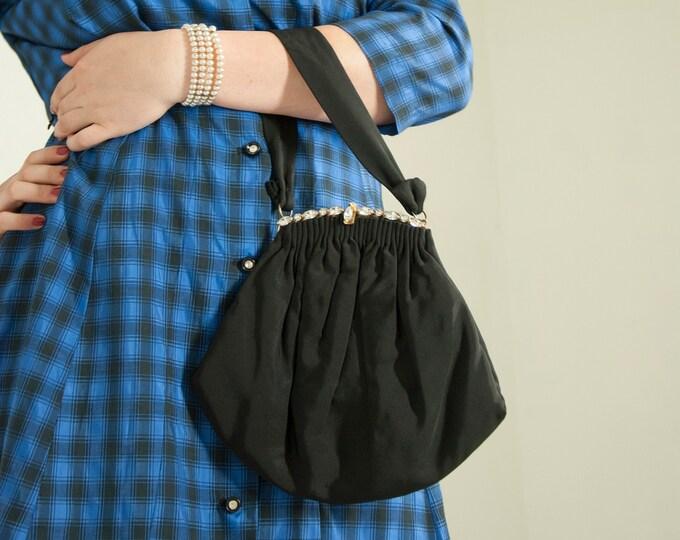 Vintage 1950s black silk handbag, faille formal purse, diamond-like rhinestones, gold frame small