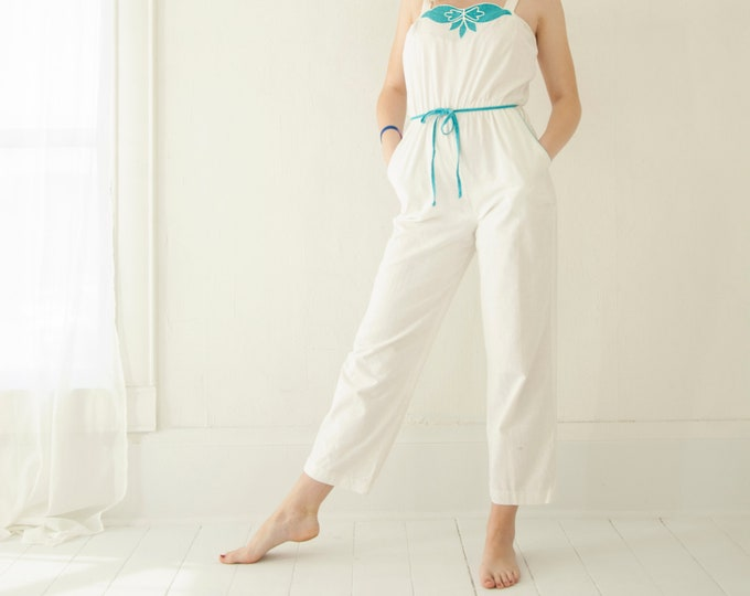 Vintage white turquoise romper jumpsuit pantsuit, one-piece summer cotton outfit pants sleeveless high-waist, 1970s 1980s XS S