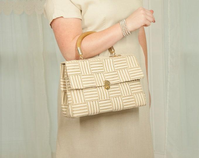 Vintage white woven handbag purse, beige ivory, wooden handle wood, 1950s 1960s formal Italy Italian mid-century mod pin-up