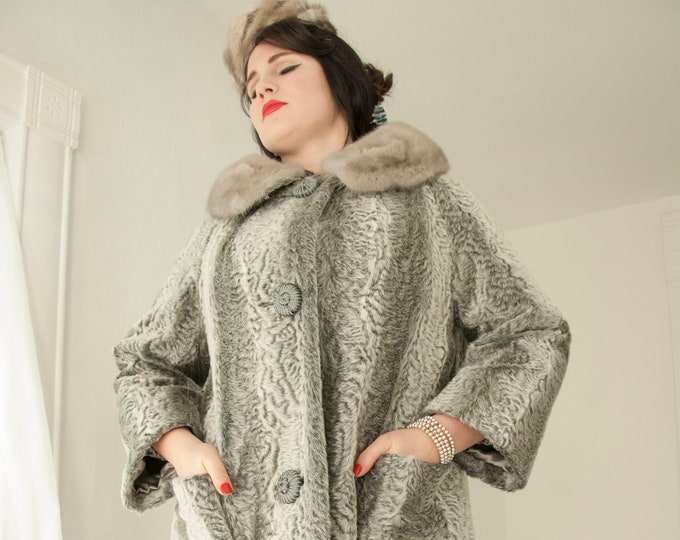 Vintage 1950s gray fur coat, genuine collar, shades of grey faux striped long Persian curly lamb formal winter jacket, pin-up XL