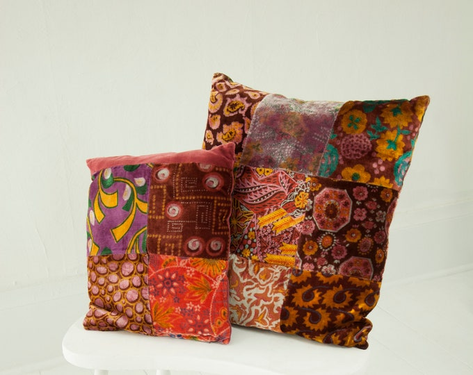 Vintage velvet patchwork pillow set, two small square throw accent, paisley floral burgundy red pink orange boho retro decor 1960s 1970s